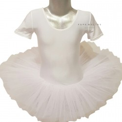 White tutú of ballet lycra with short sleeve