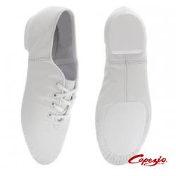 Zapatilla Jazz Piel blanca con cordones CG02