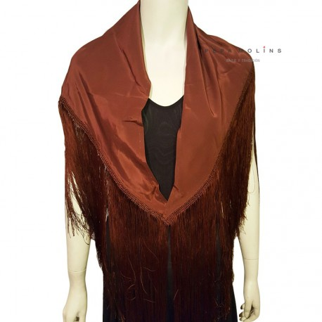 Brown shawl with long fringe