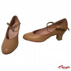 Closed leather shoe for ballroom dance with simple closure.