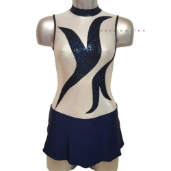 Maillot blue skating with skirt and high neck