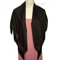Black shawl with short fringe